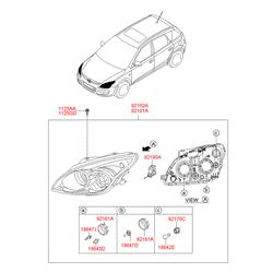 Фара передняя в сборе (Hyundai-KIA) 921022R000