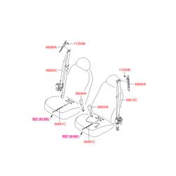 Ремень безопасности в сборе (Hyundai-KIA) 888102R900WK