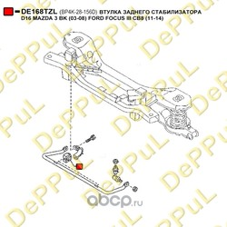 Втулка заднего стабилизатора d16 (DePPuL) DE168TZL