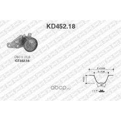 Ремень ГРМ зубчатый с роликами, комплект (NTN-SNR) KD45218