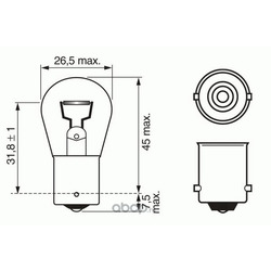 Лампа накаливания bosch p21w ba15s 12v 21w 1шт (Bosch) 1987302201