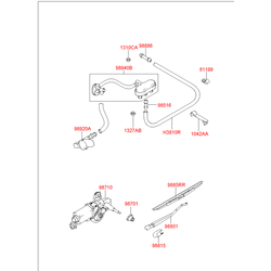 Задняя щетка стеклоочистителя Хендай Терракан (Hyundai-KIA) 98832H1000