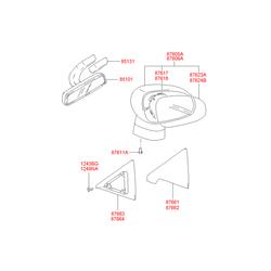 Зеркало заднего вида (Hyundai-KIA) 851014A100