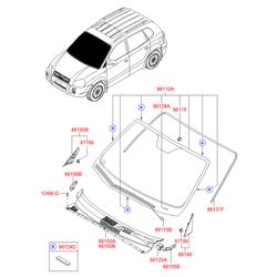 Кронштейн салонного зеркала заднего вида (Hyundai-KIA) 8611522000