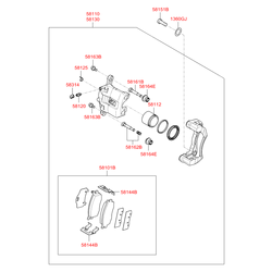 Тормозной суппорт передний правый (Hyundai-KIA) 581301G100