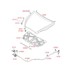 Фиксатор стойки капота (Hyundai-KIA) 811731G000