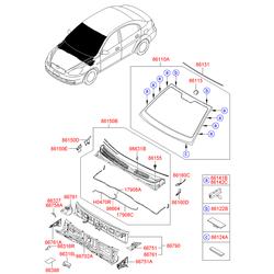 Фиксатор уплотнителя заднего стекла (Hyundai-KIA) 861222D000