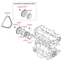 Шкив насоса системы охлаждения (Hyundai-KIA) 2522126001