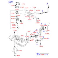 Шланг горловины топливного бака (Hyundai-KIA) 310361G800