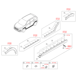 Клипсы молдингов дверей (Hyundai-KIA) 877562J000