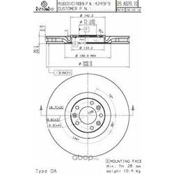 Диск тормозной передний (Brembo) 09A82910