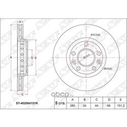 Диск тормозной передний (Sat) ST402064151R
