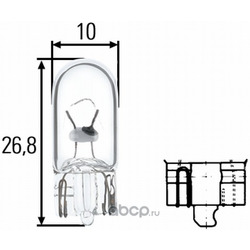 Лампа W5W W2,1x9,5d (Hella) 8GP003594121