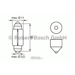 Лампа накаливания C5W (SV8,5) софит, 12В 5Вт (Bosch) 1987302211