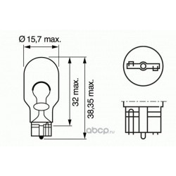 Лампа накаливания W16W (W2.1x9.5d), 12В 16Вт (Bosch) 1987302205