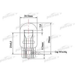 Лампа накаливания (10шт в упаковке) W21/5W 12V NVA CP W3x16q (PATRON) PLW215