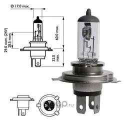 Лампа накаливания H4 (P43t), 12В 60/55Вт (Narva) 48881