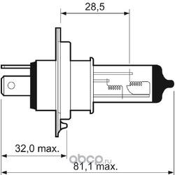 "Лампа накаливания, ""Essential H4"" 12В 60/55Вт (Valeo) 032007"