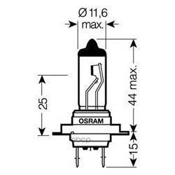Лампа накаливания H7 (PX26d), 12В 55Вт, блистер 1шт (Osram) 6421001B